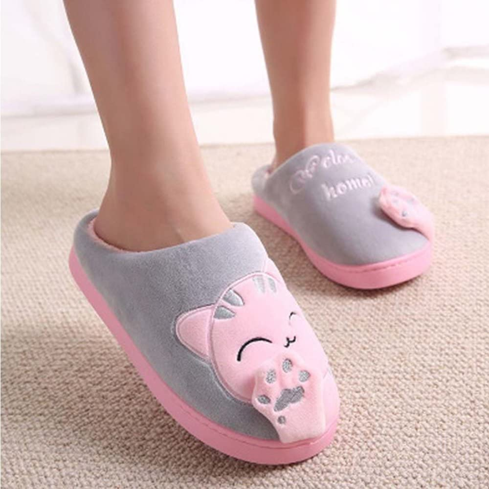 Minetom Femmes Hommes Printemps Chaud Peluche Slipper Chic Coton Chat Chaussons House Shoes