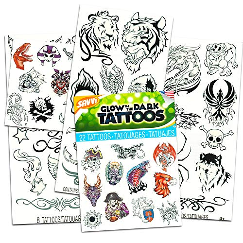 (Glow in The Dark Temporary Tattoos for Kids Boys Party Supplies Pack ~ 4 Dozen Tattoos Featuring Dragons, Pirates, Monsters, and More (5 Party Favors)