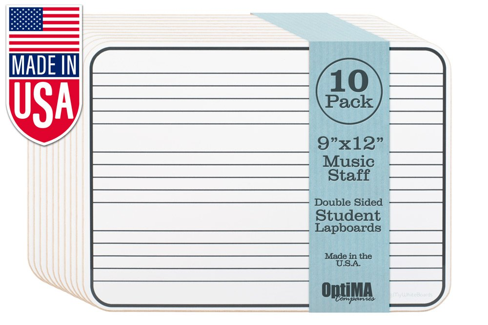 9x12 Double Sided Music Staff Dry Erase Lap Boards (10 Pack)