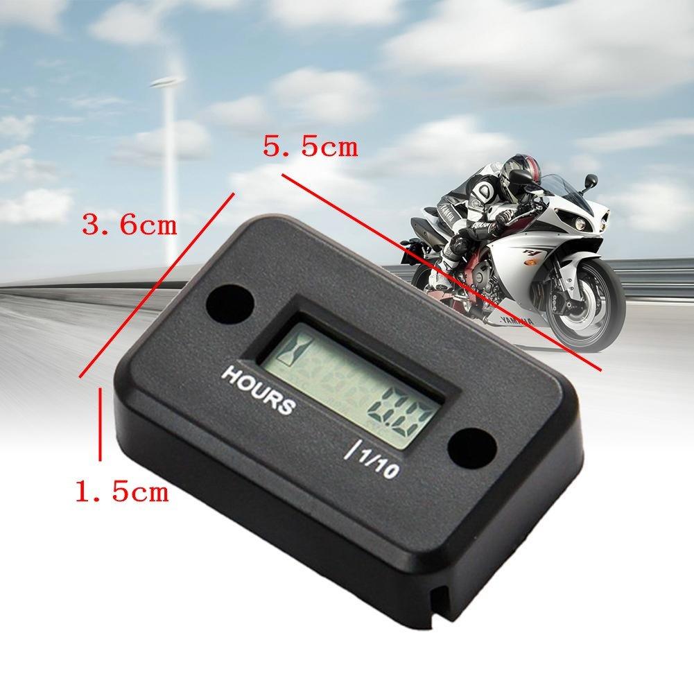JZK Wasserdicht LCD Bildschirm Betriebsstundenz/ähler Stundenz/ähler f/ür Motorrad ATV Schneemobil Boot