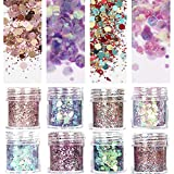 COKOHAPPY Unicorn 8 Boxes Holographic Cosmetic Festival Chunky Glitter Ultra-thin Sequins Iridescent Flakes Sparkles Hexagon Tips Mixed Paillette Face Eyes Body Hair Nail Art