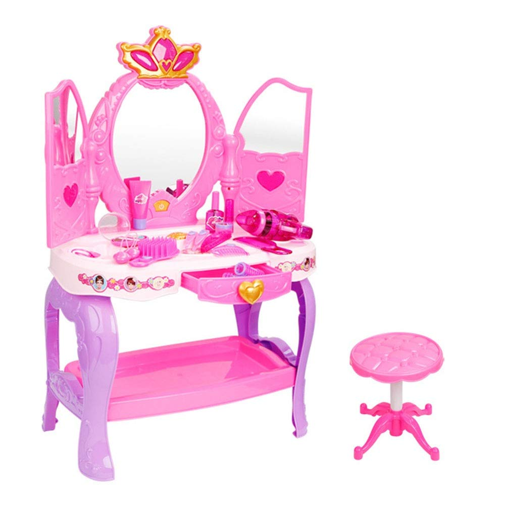 Children's Vanity Beauty Dresser Table Play Play Girls Vanity Table With Princess Makeup Table With Mirror Cosmetics And Working Hair Dryer Toy For Kids Girls ( Color : Pink , Size : 703155cm )
