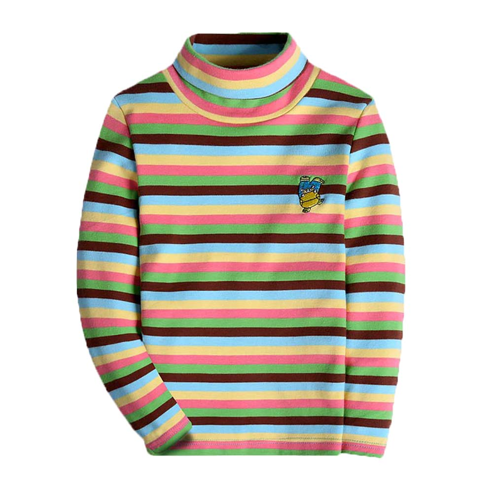 Boys Long Sleeve T-Shirts Striped Turtleneck Uniform Tee Shirts Kid Tops Clothes