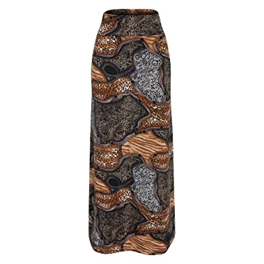 Holywin - Falda de Cintura Alta para Mujer marrón Medium: Amazon ...