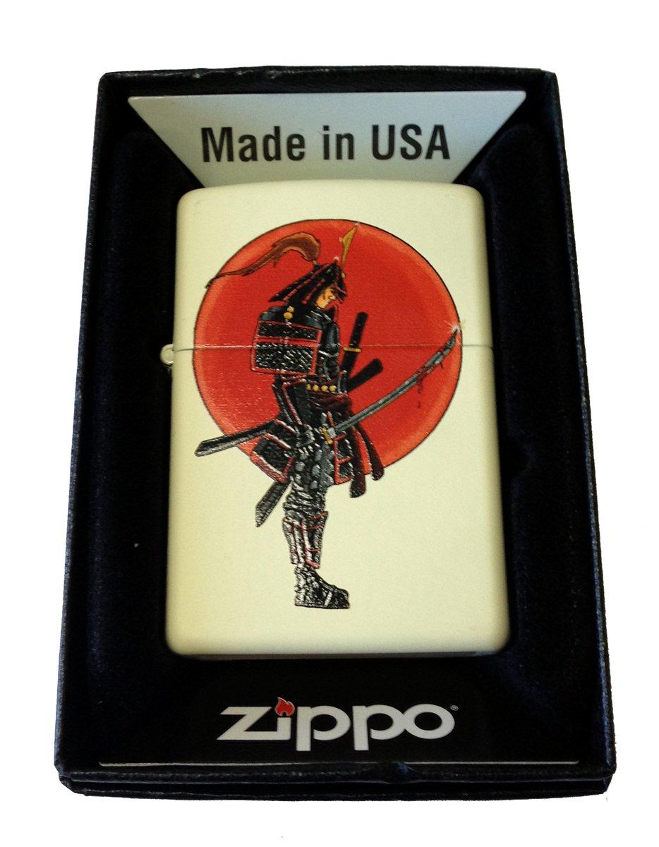 Zippo Custom Lighter - Japanese Warrior Samurai w/ Bloody Sword Cream Matte