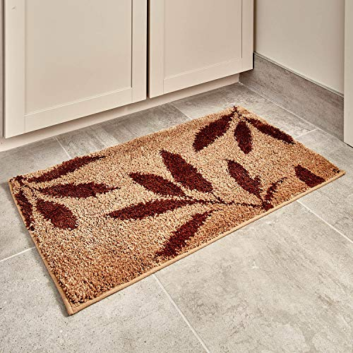 (InterDesign 17411 Leaves Bath, Machine Washable Microfiber Accent Rug for Bathroom, Kitchen, Bedroom, Office, 34