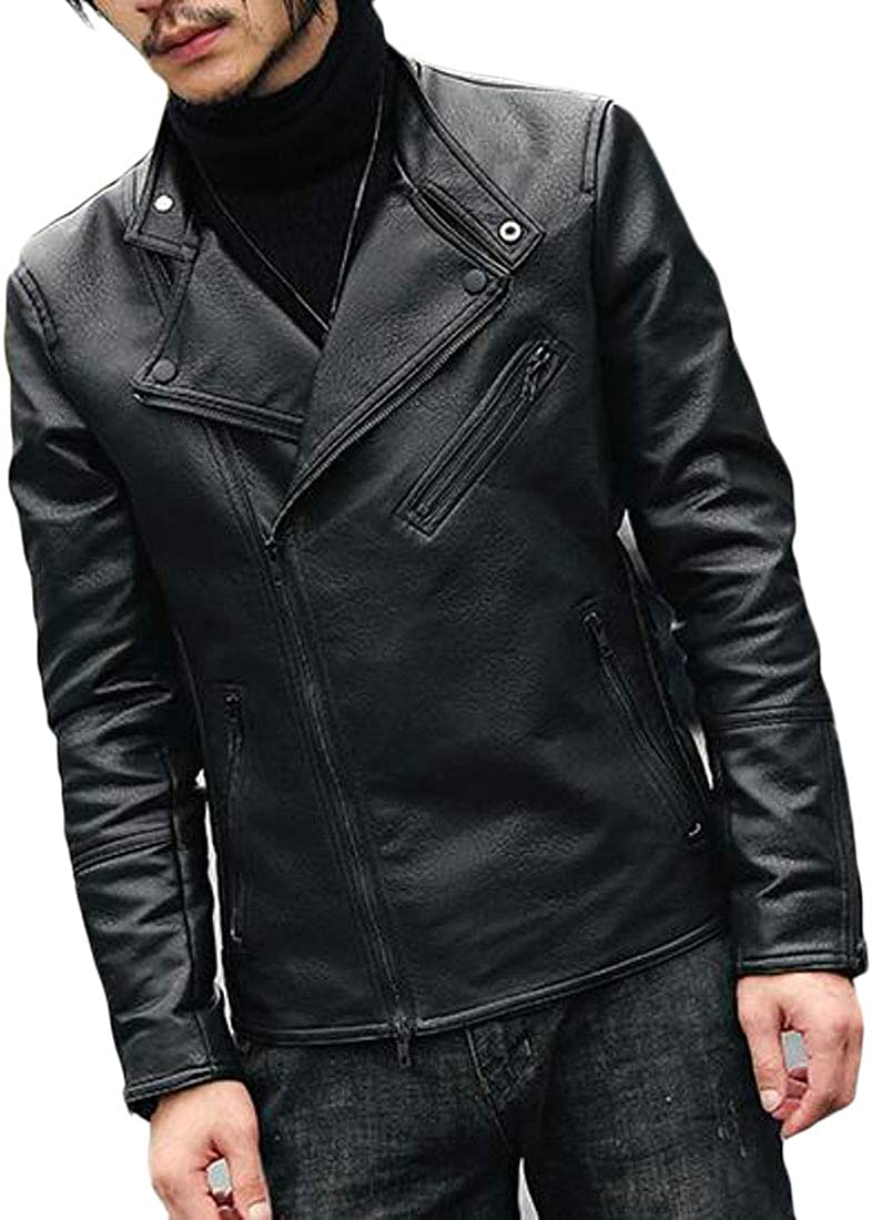 GloryA Mens Outwear Biker Coat Faux Leather Slim Stand Collar Zipper Jackets