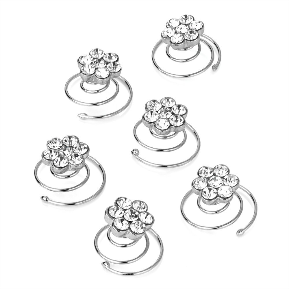 Set of 6 Clear Crystal Flower Design Silver Hair Twist Coils Jewels Bridal Pritties Accessories PRH06033