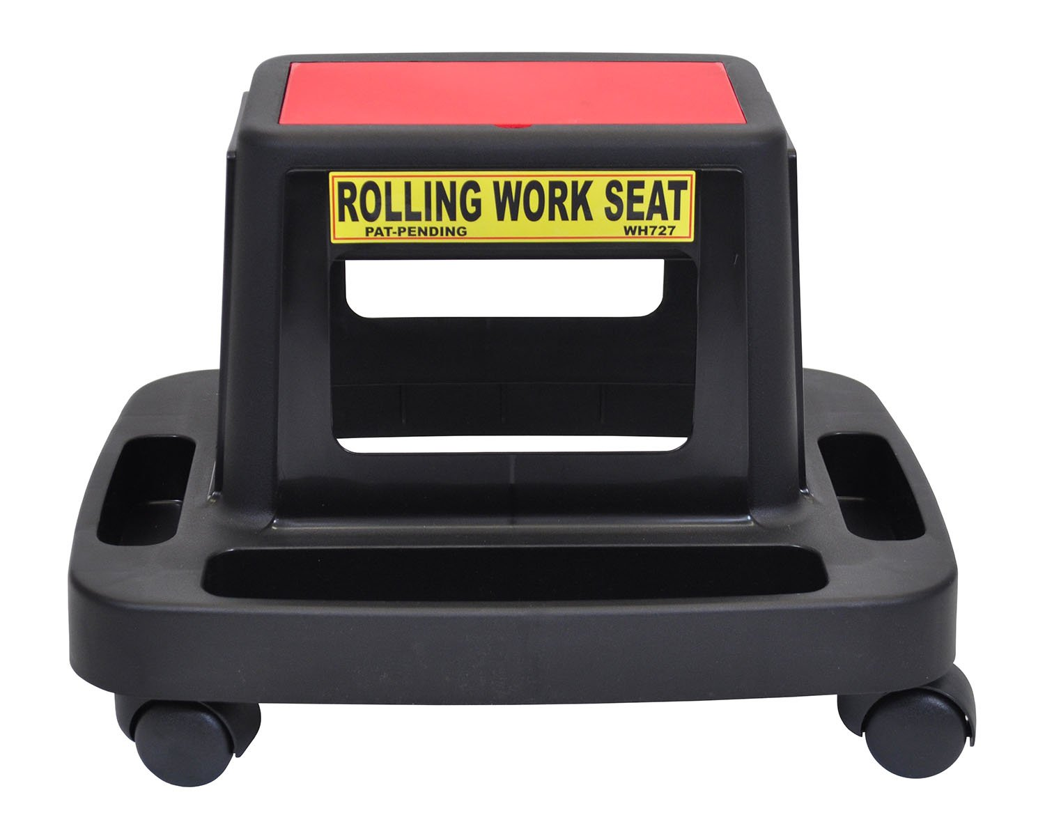 Luxor Mechanics Seat Black with Red Lid Top 2'' Casters