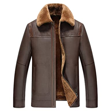 edcdd3444a76 Mens Fur Coat Men s Shearling Jacket Pilot Leather Jacket Genuine Leather  Outerwear at Amazon Men s Clothing store