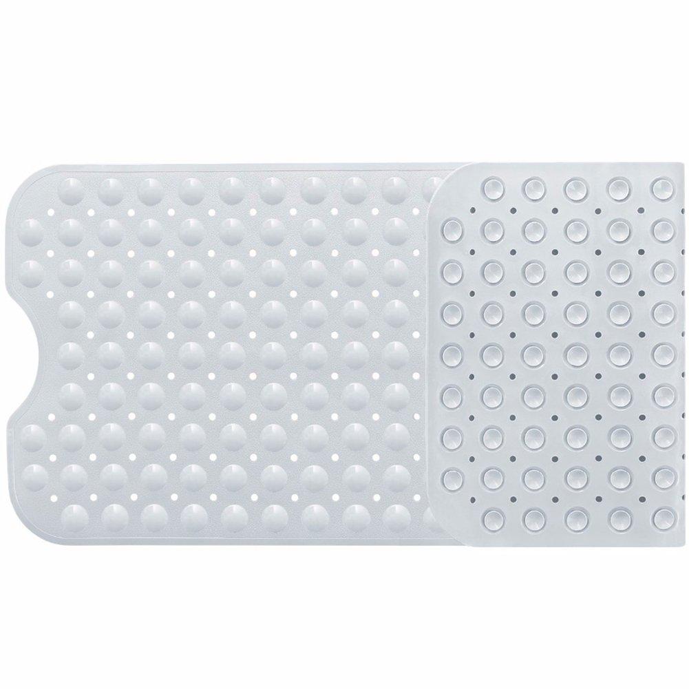 Topbeu PVC Rectangular Suction Cup Bathtub Pad Anti Bacterial Bath Tub Shower Mat (White)