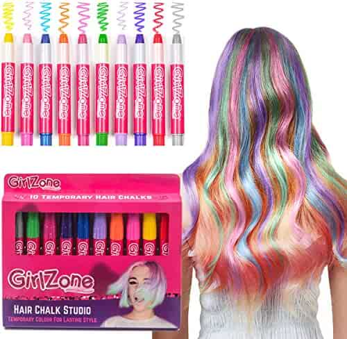 HAIR CHALKS CHRISTMAS GIFT: 10 Colorful Hair Chalk Pens. Temporary Color for Girls for All Ages. Makes a Great Birthday Gifts Present For Girls Age 4 5 6 7 8 9 10 years old