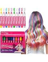 HAIR CHALKS BIRTHDAY GIFT: 10 Colorful Hair Chalk Pens. Temporary Color for Girls for All Ages. Makes a Great Birthday Gifts Present For Girls Age 4 5 6 7 8 9 10 years old