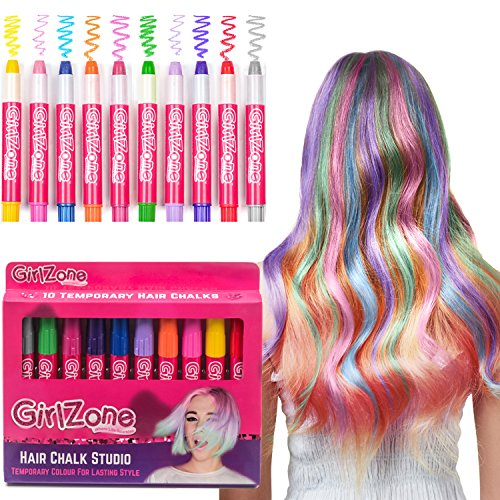 HAIR CHALKS CHRISTMAS GIFT: 10 Colorful Hair Chalk Pens. Temporary Color for Girls for All Ages. Makes a Great Christmas Birthday Gifts Present For Girls Age 4 5 6 7 8 9 10 years old