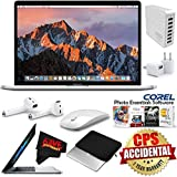 6Ave Apple 15.4 MacBook Pro with Touch Bar (Mid 2017, Silver) (MPTV2LL/A) + Padded Case For Macbook + Apple AirPods Wireless Bluetooth Earphones Bundle