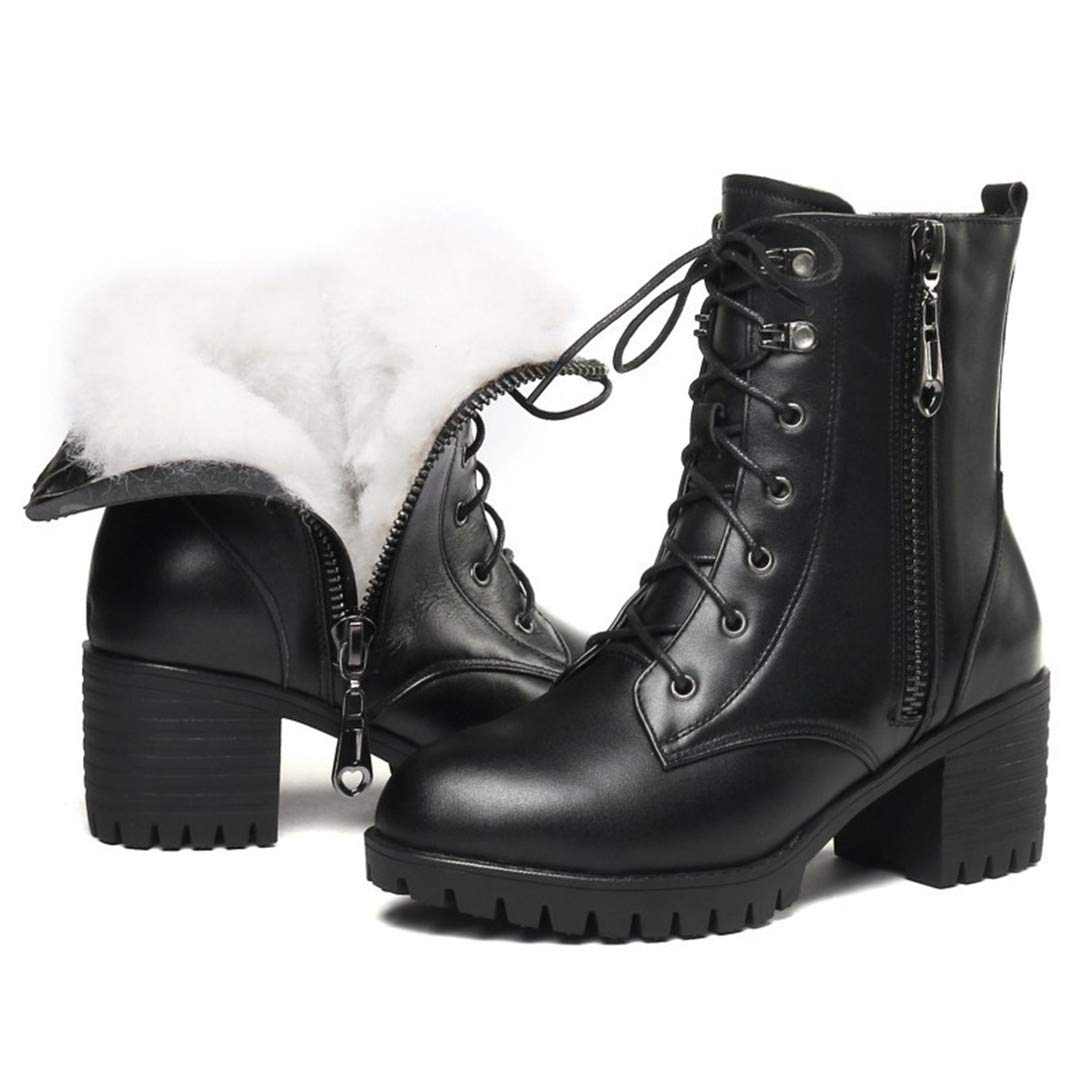 Black wool Genuine Leather Heel Women Snow Boots Wool Warm Female Winter Boots Female Military Boots