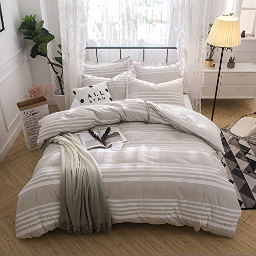 Merryfeel Cotton Duvet Cover Set,100% Cotton Seersucker Duvet Cover Set,Yarn Dyed Stripe Bedding Set,3 Pieces- Full/Queen Khaki