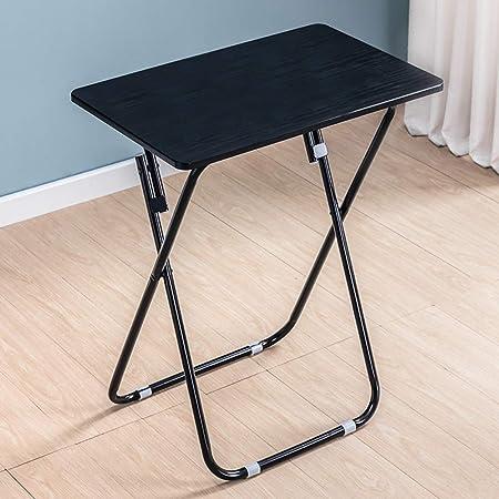 Giow Mesa Plegable Simple, mesas de Picnic portátiles para Interiores y Exteriores, Estructura de Soporte de Metal Triangular pequeña (Blanco, Negro) y Juego de sillas, Mesa Negra: Amazon.es: Hogar