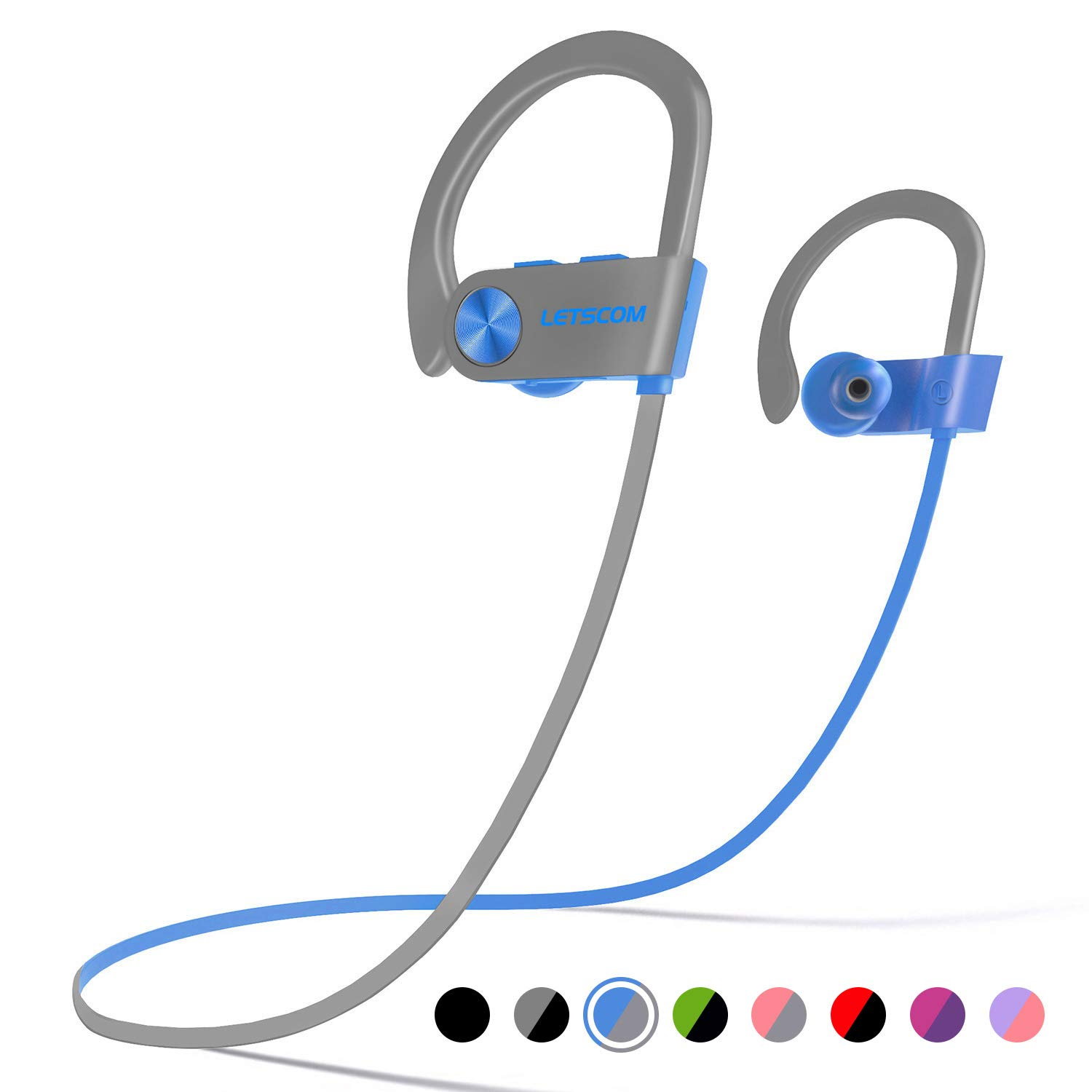 LETSCOM Bluetooth Headphones IPX7 Waterproof, Wireless Sport Earphones, HiFi Bass Stereo Sweatproof Earbuds w/Mic, Noise Cancelling Headset for Workout, Running, Gym, 8 Hours Play Time
