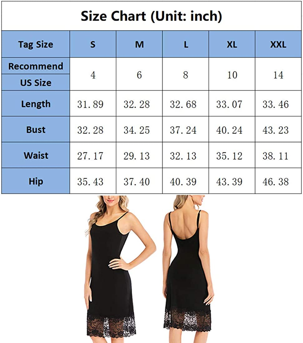 Vanrose Womens Full Slip Lace Trim Adjustable Spaghetti Strap Cami Under Dress Extender