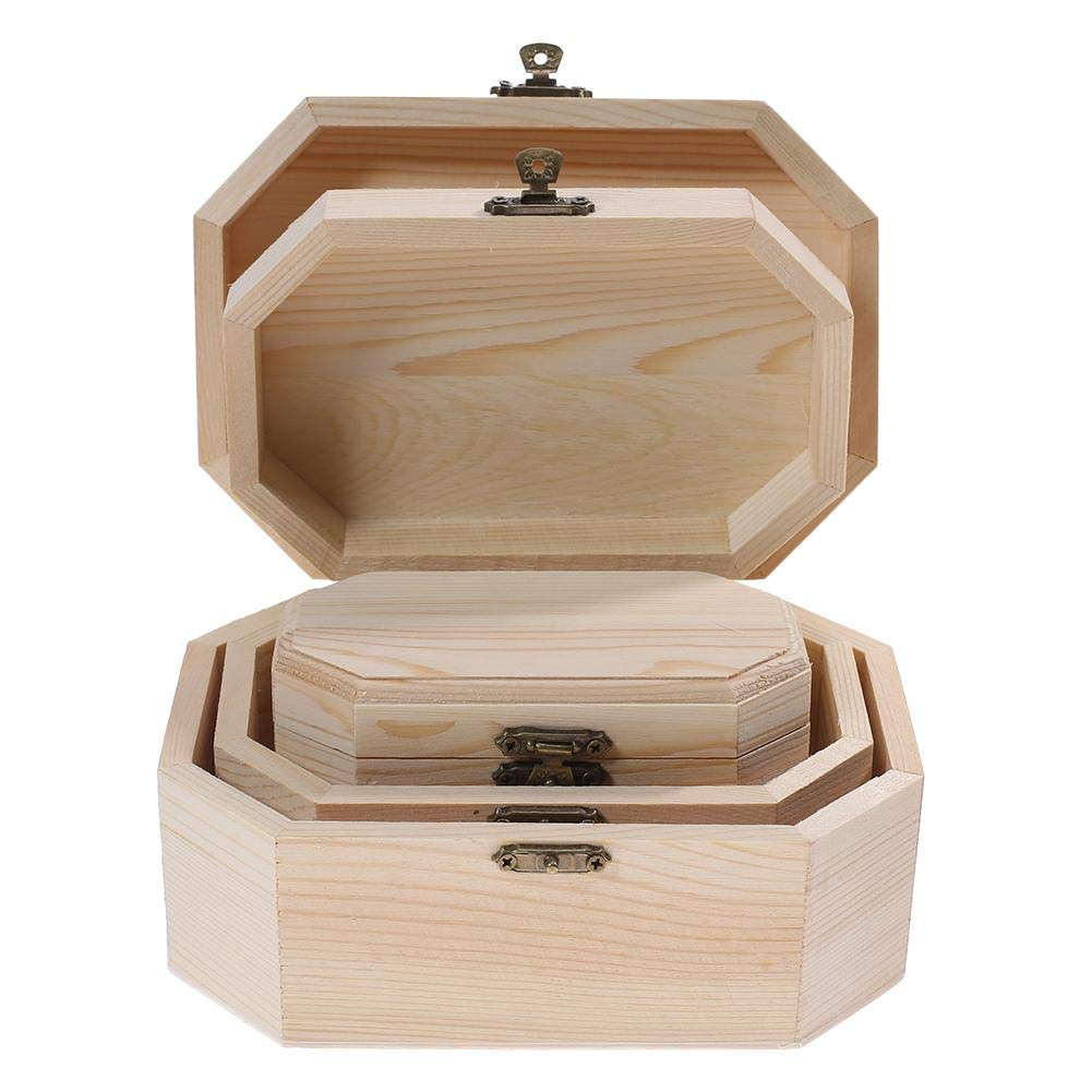 HighPlus 3X Octagonal Wooden Pirate Treasure Chest Wood Storage Decoupage Craft Box by HighPlus (Image #9)