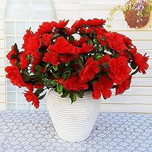 Lopkey 6 Heads Azalea Artificial Bush Flowers Bouquet Wedding Home Decor (Dark Red) 46
