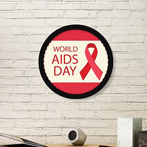 DIYthinker World AIDS Day 1st December Red Ribbon Awareness HIV Solidarity Symbol Round Simple Picture Frame Art Prints of Paintings Home Wall Decal