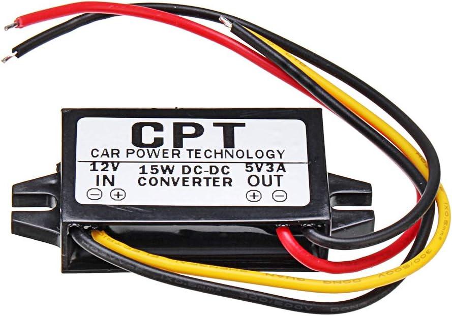 BliliDIY CPT-UL-1 /Étanche 12V /À 5V 3A 15W Convertisseur CC /À CC R/égulateur CPT Convertisseur De Puissance De Voiture Module Abaisseur