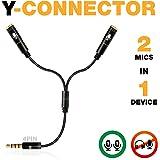 2 Microphone Splitter - Y Splitter 3.5mm - TRRS Mic Splitter by PowerDeWise