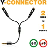 Y Splitter Mic and Mic - Microphone TRRS Splitter - 2 Microphone Splitter - Y-Splitter - Y-Connector Audio Signal Splitter Ca