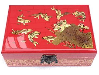 irugh Empuje la Laca luz Ware joyería Caja joyería Chino Pintado a Mano Antigua Caja Caja