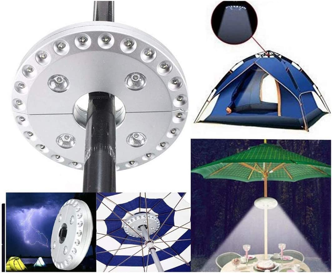 Patio Umbrella Lights Outdoor Umbrella Light Umbrella Pole Light Cordless Umbrella Rod Light Camping Tents Use 3 Brightness Modes 28 LED Lights 200 lumens-4 x AA Battery Operated(NOT Included) Black