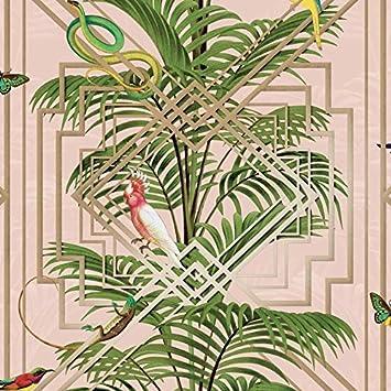 Oiseaux Tropical Palmiers Papier Peint Rose Dore Metallique Vert
