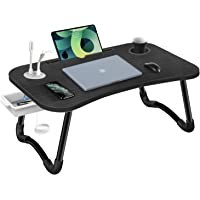 HLHome Laptop Bed Desk,Portable Foldable Laptop Bed Tray Table with USB Charge Port/Cup Holder/Storage Drawer,for Bed…