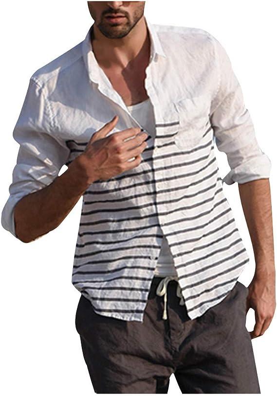 🌴 Tefamore Camisa Hombres Lino 🌴 Botón a Rayas de Manga Larga para Hombre Top de Manga Corta y Algodón: Amazon.es: Ropa y accesorios