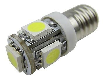 1 x E10 6 V Bombilla Lámpara 5 x 5050 LED SMD Blanco STI Socket de vehículo 360 °=6 V.: Amazon.es: Coche y moto