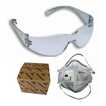 d6c81b080a 3M Virtua In Hard Coated Bike Riding Clear Safety Goggle and 3M 9004V  Valved Antipollution Riding Respirator Combo  Amazon.in  Industrial    Scientific