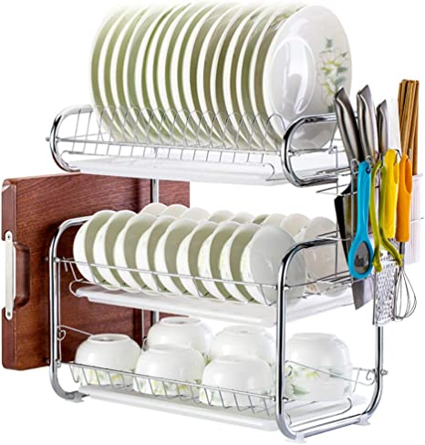 Stainless Steel 3 Tier Dish Drying Rack Kitchen Dishes Rack With Removable Drain Board Sturdy Large Capacity Plate Dish Drainer Organizer B Kitchen Dining