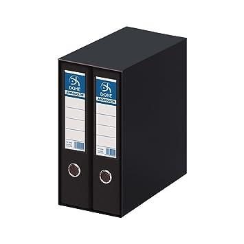 Dohe Archicolor - Módulo 2 archivadores, folio lomo ancho, color negro