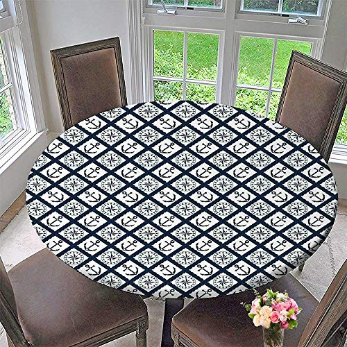 "Chateau Easy-Care Cloth Tablecloth Pattern with Anchor and Windrose in Rope Stripes Navigation Sea Adventure Indigo White for Home, Party, Wedding 35.5""-40"" Round (Elastic Edge)"