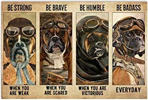 Boxer Pilot Be Strong When Weak Be Brave When Scared Be Humble When Victorious Be Badass Everyday Horizontal Poster|Gift for Home Decor Wall Art Print Poster| Full Size 18x12 24x16 36x24 40x27|