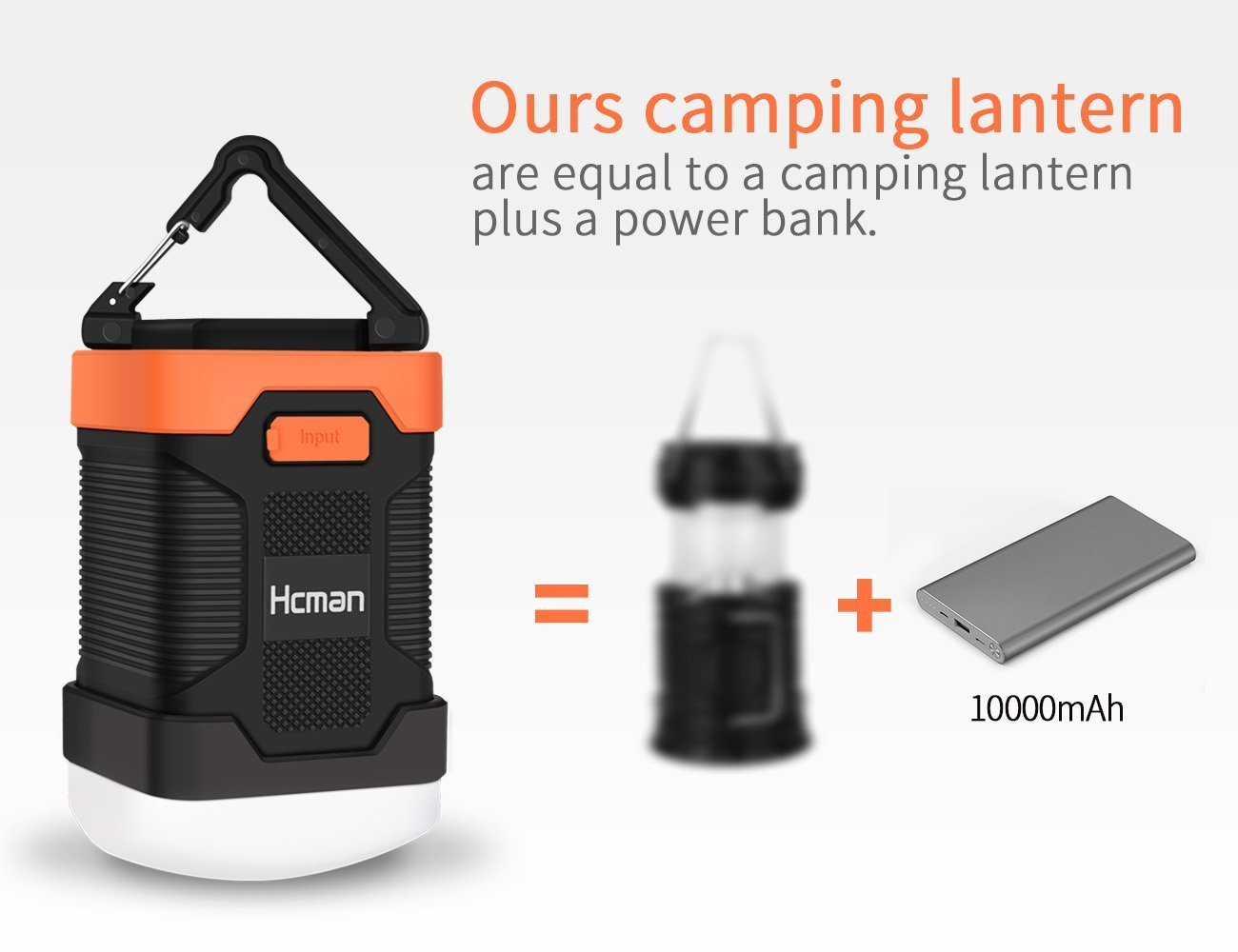 LED Camping Lantern Rechargeable Flashlight - Hcman Power Bank 10000 mAh, Tent Flashlight Led Camping Lamp IP65 Waterproof Camping Gear Equipment for Camping, Hiking, Fishing and Emergencies