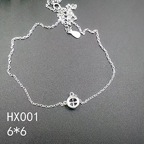 925 sterling silver plated white gold rose gold 18k 6 6 mountings silver necklace pendant clavicle chain 001 ()