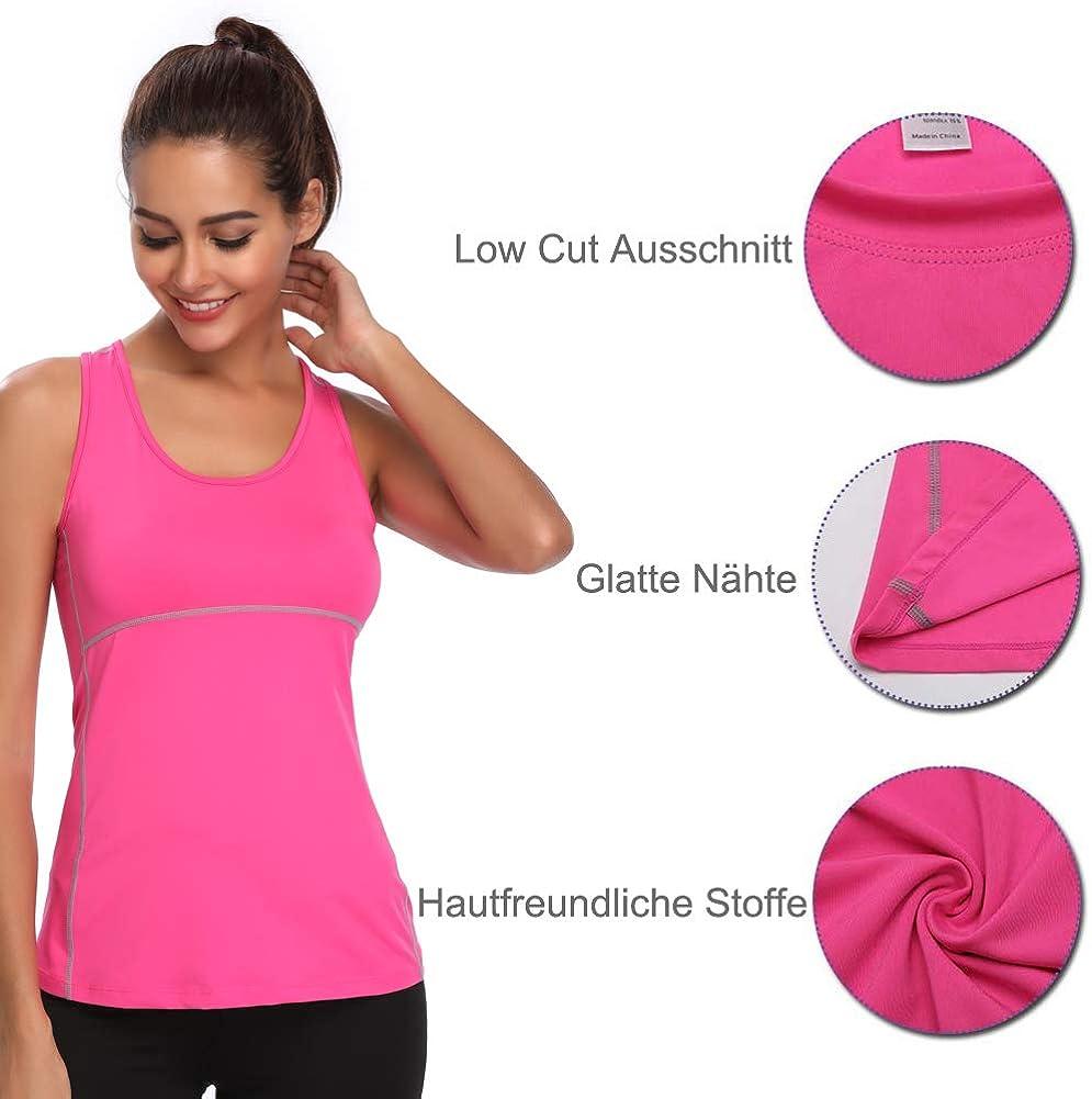 Joyshaper Sportoberteile Damen Sportshirt Yoga Tank Top Dehnbare Training Shirt Sport Top Quick Dry f/ür Fitness Joggen oder als Allt/ägliche Sommer Kleidung