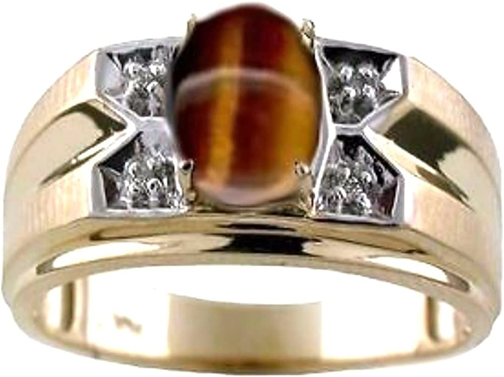 Rylos Mens Tiger Eye /& Diamond Ring Sterling Silver or Yellow Gold Plated