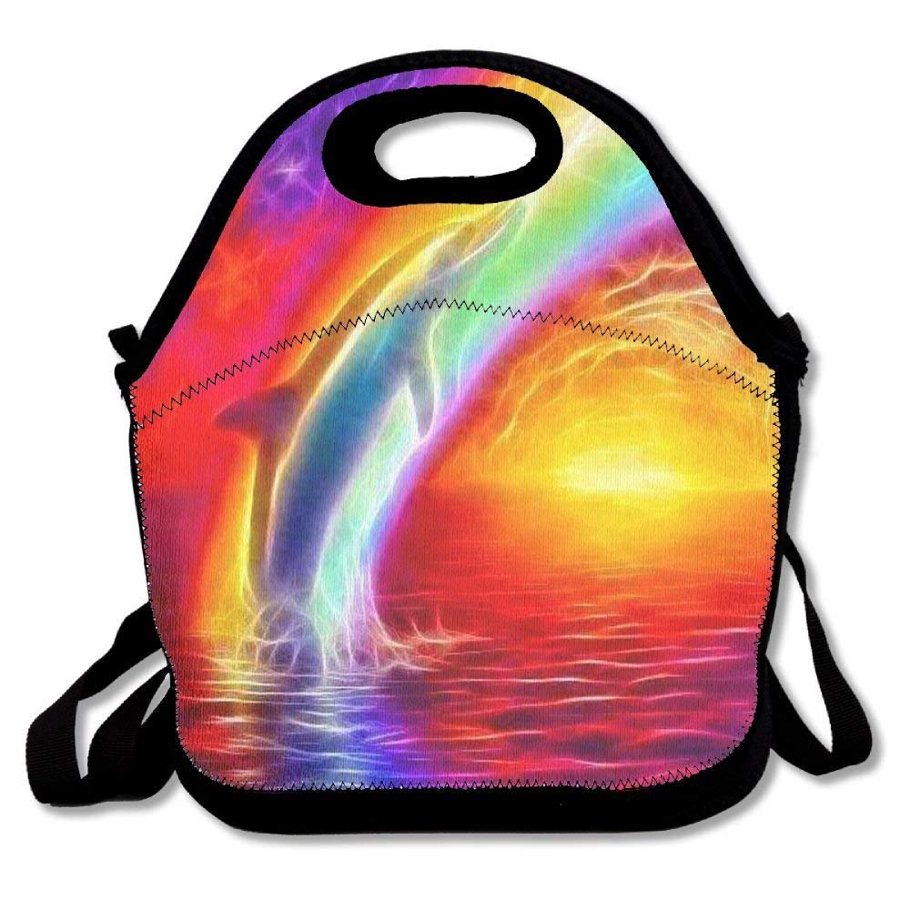 EJjheadband Lunch Boxes Dolphins Over The Rainbow Lunch Tote-Personalized Lunch Bags