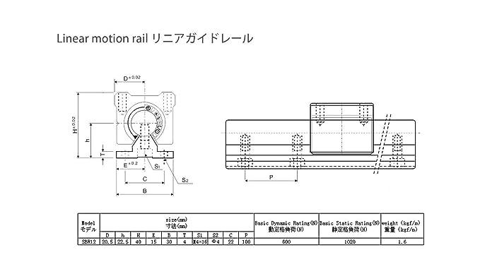 2 x SBR12-1050MM Liner Raill Support 2 Rail /& 4 Blcoks 4 SBR12UU Block Bearing