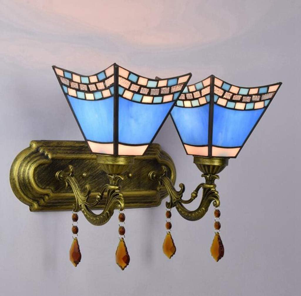 Lámpara De Pared Mediterránea De Vidrieras Tiffany Style Azul Lámpara De Pared De Golondrina De Hierro Forjado Creativo Europeo Comedor Dormitorio Pasillo De Baño Aplique Lámpara E27,Doublehead