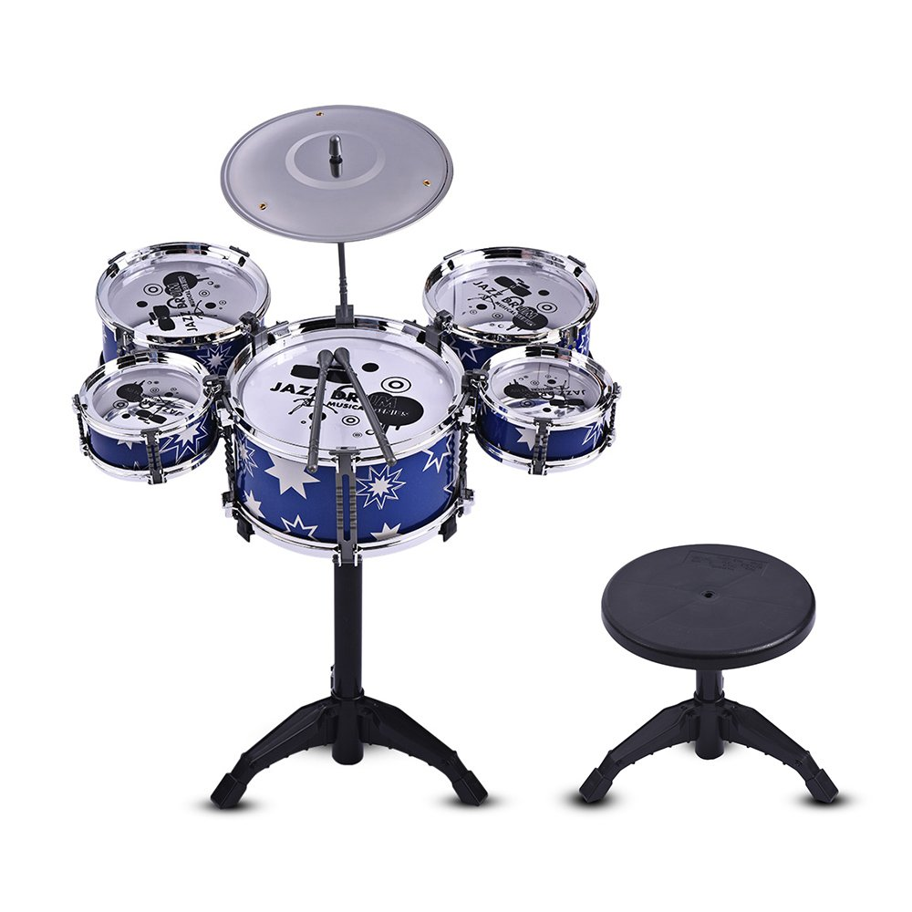Jazz Drum Set Kit Muslady Musical Instrument Children Kids Educational Toy 5 Drums + 1 Cymbal with Small Stool Drum Sticks for Boys Girls