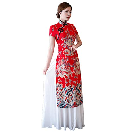Amazon.com: YI Ya Womens Dress Polyester Cheongsam Qipao ...